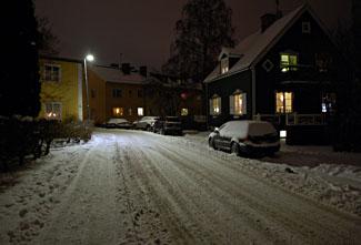 snö på gata